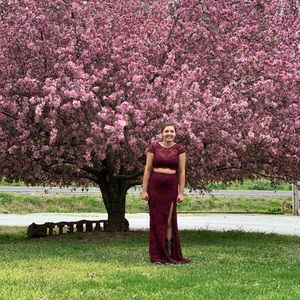 Wine colored prom dress